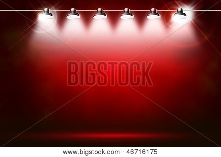 red background with spotlights poster
