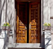 image of brownstone  - An open front door of a Nyc brownstone - JPG