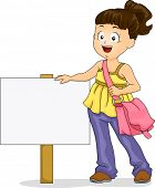 picture of sling bag  - Illustration of Little Kid Girl wearing a Sling Bag standing beside a Signage - JPG