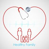 picture of lifeline  - illustration of family made of stethoscope on Healthcare and Medical background - JPG