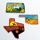 pic of kansas  - Retro state shape illustrations of Kansas - JPG