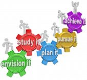 The words Envision it, Study it, Plan it, Pursue it, and Achieve it within gears and people climbing