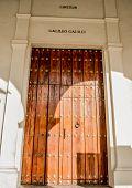 stock photo of einstein  - Cuba Caribbean libre door with einstein and gallieo - JPG