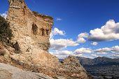 pic of martello  - The original Mortello Tower at Punta Mortella on the coast of the Desert Des Agriates near St Florent Corsica - JPG