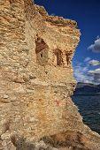 picture of martello  - The original Mortello Tower at Punta Mortella on the coast of the Desert Des Agriates near St Florent Corsica - JPG