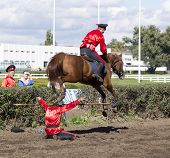 Rostov-on-don, Russia-september 22 - The Horseman On A Horse Jumping Over A Man In Rostov-on-don