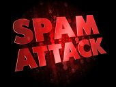 Spam Attack on Dark Digital Background.