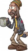 foto of beggar  - Cartoon beggar - JPG