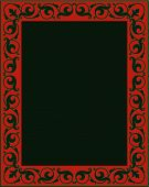 picture of scrollwork  - A traditional scrollwork sign with fleur de lis and flourishes aplenty in green and red - JPG