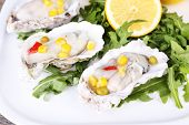 picture of oyster shell  - Tasty cooked oysters in shell on wooden table - JPG