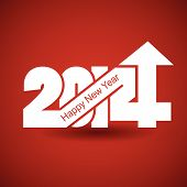 stock photo of happy new year 2014  - Happy New Year 2014 with arrow up happy New Year and merry xmas concept - JPG