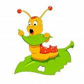 stock photo of caterpillar cartoon  - Cartoon vector illustration of funny hungry caterpillar - JPG