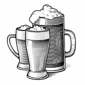 picture of drawing beer  - three glasses of beer  - JPG