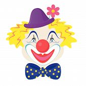 foto of clown rose  - The funny clown in a cap with rose flower - JPG