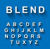 stock photo of glyphs  - Classic alphabet with modern long shadow effect - JPG