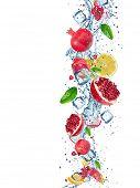 stock photo of dragon fruit  - Fresh fruit with water splash over white background - JPG