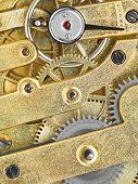 ������, ������: Background From Brass Clockwork Of Vintage Watch
