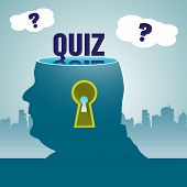 stock photo of quiz  - Abstract colorful background with a man having his head sliced off and the word quiz written in blue above his head - JPG