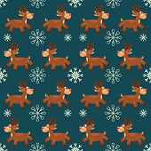stock photo of rudolph  - Seamless vector illustration background with christmas symbols - JPG