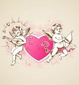 picture of cupid  - Vintage vector background with pink heart and Cupids for Valentine - JPG
