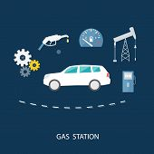 picture of fuel pump  - Car in gas station - JPG