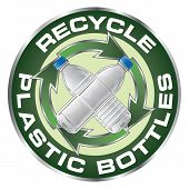 picture of plastic bottle  - Illustration of a recycle symbol with two type of clear plastic bottles crossed in the center on a sticker or emblem - JPG