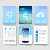 stock photo of brochure  - Vector brochure design templates mobile phone collection - JPG