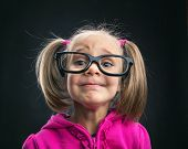 picture of spectacles  - Funny little girl in funny big spectacles - JPG
