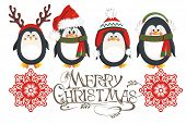stock photo of christmas hat  - Christmas card with cute penguins - JPG