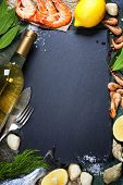 stock photo of leafy  - Food background with Seafood and Wine - JPG