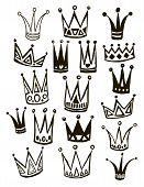 stock photo of queen crown  - Set of cute cartoon crowns - JPG