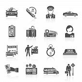 picture of cabs  - Taxi driver transportation car service cab man icons black set isolated vector illustration - JPG