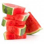 image of watermelon  - Sliced ripe watermelon isolated on white background cutout - JPG
