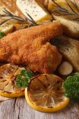 stock photo of southern fried chicken  - Fried chicken wings dipped in batter with vegetables close - JPG