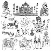 pic of ganapati  - India travel traditional culture decorative sketch icons set with elephant lotus buddha isolated vector illustration - JPG