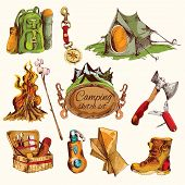 image of boot camp  - Camping sketch colored set with military boots axe knife compass isolated vector illustration - JPG