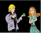 pic of marriage proposal  - Illustration of a man making a marriage proposal to young woman - JPG