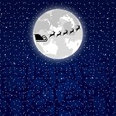 foto of sleigh ride  - Santa Claus riding on a reindeer on a background of the full moon in the forest - JPG
