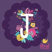 foto of monogram  - Vintage floral hand drawn monogram made of flowers - JPG