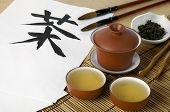 picture of chinese calligraphy  - Oriental tea ceremony set with Chinese hieroglyph  - JPG