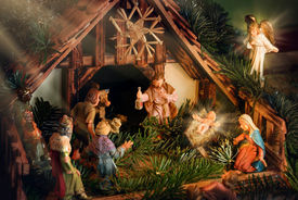 picture of magi  - Colorful Nativity Scene with baby Jesus Mary Joseph an angel and other famous religious figures of the bible enhanced with rays of light for devotional mood - JPG