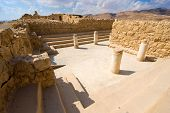picture of synagogue  - The synagogue on top of the rock Masada in Israel - JPG