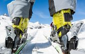 picture of ski boots  - Close up of skier - JPG