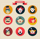 picture of circus clown  - Vintage Hipster Circus - JPG