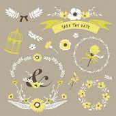stock photo of flourish  - Set of flourish elements for wedding invitation - JPG