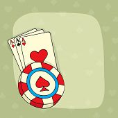 foto of ace spades  - Vintage ace playing card and 3D Casino chip with blank space for your message - JPG