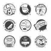 stock photo of dust-bin  - Set of vintage logos - JPG