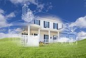 pic of grass  - Beautiful Custom House Design Drawing and Ghosted House Appearing Above Green Grass Field - JPG