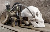 image of steampunk  - White human skull with mechanical steampunk style metal parts composition on wooden table - JPG