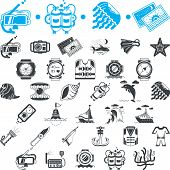 picture of marines  - Set of blue and black vector icons for marine equipment - JPG